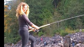 getlinkyoutube.com-Vedder river Chillwack Fishing report With Hailey and Ken Oct 8 2014