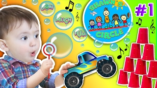 getlinkyoutube.com-Shawn's Circle: ♫ POPPING BUBBLES ♪ Family Fun Games w/ Baby! Toys Playtime (#1) | DOH MUCH FUN