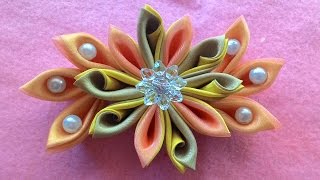 getlinkyoutube.com-Diy _ how to make kanzashi flowers with beads from satin ribbon