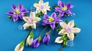 getlinkyoutube.com-Ribbon flowers:hairpins set/Flores de cintas:conjunto de pelo clips/Цветы из лент:набор заколок.МК