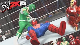 getlinkyoutube.com-WWE 2K15 - Avengers vs Power Rangers - Elimination Chamber Match