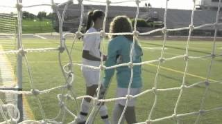 South Lyon soccer player on crutches gets a save on her last high school soccer game