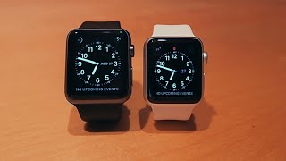 getlinkyoutube.com-Apple Watch Size Comparison 38mm White Silver & 42mm Black Space Grey / Gray Sport Band Collection