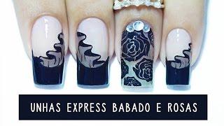getlinkyoutube.com-Unhas Express #15 Babadinho e Rosas com efeito Meia calça - carimbando -cupom Born Pretty Store