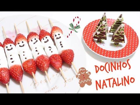 DIY:Docinhos Natalinos   espetinho de morango e marshmallow   arvore de chocolate