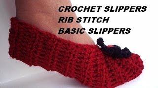 getlinkyoutube.com-How to CROCHET SLIPPERS, Basic Rib Stitch Unisex Slippers video tutorial