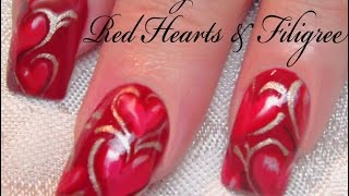 getlinkyoutube.com-Valentine's Day Nail Art Tutorial | Red Heart Nails with Filigree Design