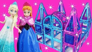 FROZEN ELSA Builds MAGNETIC Tile ICE PRINCESS CASTLE PALACE Build Your Own Educational Fun 62 pieces