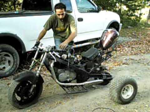 HOME MADE TRIKE.  YAMAHA KAWASAKI HARLEY XS650 MOTOR