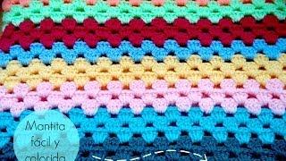 getlinkyoutube.com-Manta fácil de GANCHILLO -  Easy CROCHET blanket (TUTORIAL)