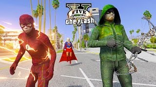 THE FLASH & ARROW & SUPERGIRL VS Alien Invasion ! (GTA 5 Ultimate Flash Mod Gameplay)