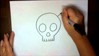 getlinkyoutube.com-How to Draw a Skull and Crossbones Step by Step Simple Cartoon Easy Drawing Lesson