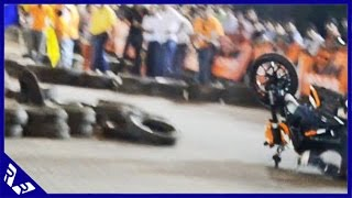 getlinkyoutube.com-Duke 200 Crash at Kolkata Orange Day race finals (crashing rider wins on comeback!)