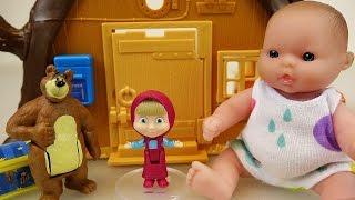 getlinkyoutube.com-Baby doll and Marsha and the Bear house toys play