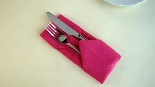 Bestecktasche falten: Servietten falten einfach - z.B. Tischdeko Hochzeit