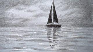 getlinkyoutube.com-How to Draw a Sailing Boat - How to Draw a Sea - How to Draw Clouds