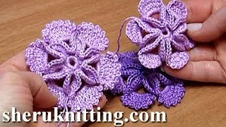 getlinkyoutube.com-Crochet 3D Center Flower Tutorial 7 Blume mit leichtem 3D-Effekt häkeln