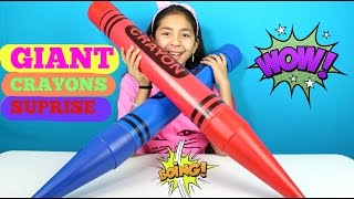 getlinkyoutube.com-2 Giant Crayons Huge Surprise Kinder Eggs Shopkins Home MLP Fashems Frozen |B2cutecupcakes