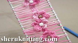 getlinkyoutube.com-Floral Crochet Hairpin Lace Strip Tutorial 19 Crochet Flowers on Hairpin Loom