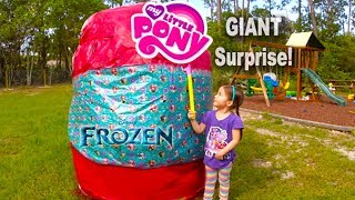 getlinkyoutube.com-BIGGEST SURPRISE EGG Ever! Surprise Toys Eggs Disney Frozen MLP Spiderman Hello Kitty Powerwheels