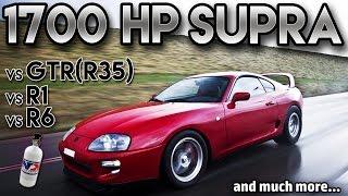 getlinkyoutube.com-Toyota Supra 1700hp BIG Single Turbo vs GTR r35 vs r1 vs r6(antilag, 2 step,Straight from hell)
