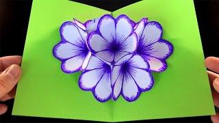 Basteln mit Papier: Blumen Pop-Up Karte basteln. DIY Bastelideen für Geschenke. Ostern