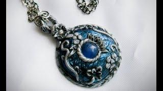 "getlinkyoutube.com-Polymer Clay Tutorial, pendant/necklace - "" Ice Realm Amulet """