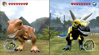 getlinkyoutube.com-LEGO Jurassic World - T-Rex vs Custom T-Rex - CoOp Fight | Free Roam Gameplay [HD]
