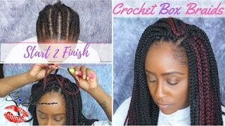 How To: Crochet Box Braids Tutorial | NO HAIR OUT | Start 2 Finish