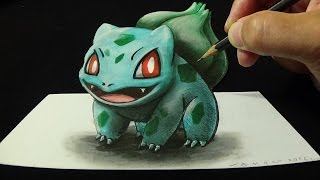 getlinkyoutube.com-Drawing 3D BULBASAUR #001, Optical Illusion