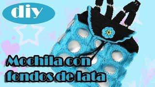 "getlinkyoutube.com-Como hacer una bolsa con fondos de bote de lata: Mochila ""Tina"" parte 1"