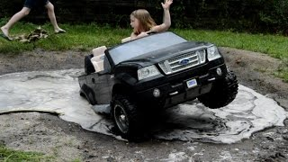 getlinkyoutube.com-High Volts PW - Girls get Stuck in Powerwheels Ford F-150 - PowerWheels Mudding