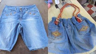 getlinkyoutube.com-Reciclaje de Jeans: BOLSO grande con jeans reciclados