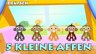 getlinkyoutube.com-Fünf Kleine Affenn (Five Little Monkeys) | German Nursery Rhymes