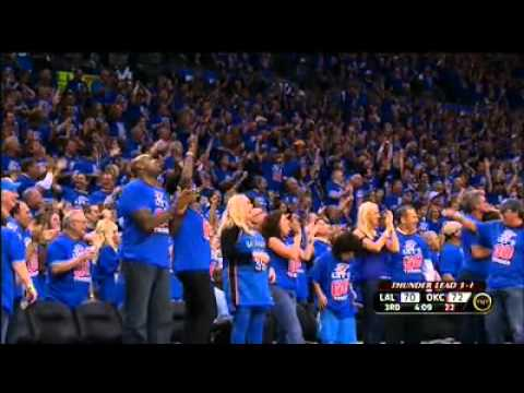 Russel Westbrook's unbelievable 3 point play against the lakers in playoffs