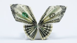 getlinkyoutube.com-Money Gift Idea: Butterfly, dollar bill origami tutorial, easy!