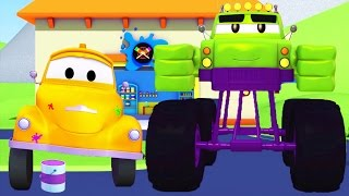 Tom The Tow Truck's Paint Shop in Car City - The Monster Truck is Hulk | Truck cartoons for kids