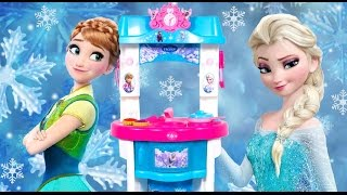 getlinkyoutube.com-Giant Frozen Kitchen Toy Smoby Cutting Frozen Food Toys 겨울왕국부엌 Cuisine Küche кухня Cocinita Funtoys