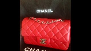getlinkyoutube.com-Unboxing of New Chanel Red Lambskin Mini Flap Bag