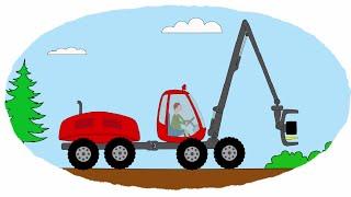 getlinkyoutube.com-Мультик - Раскраска. Учим Цвета - Тракторы, работающие в лесу