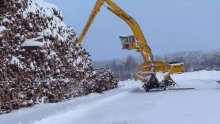 getlinkyoutube.com-Sennebogen 870 M special  loading timber on truck