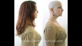 getlinkyoutube.com-Long to Bald Makeover http://www.ShortHaircutGirls.com Bald is Beautiful
