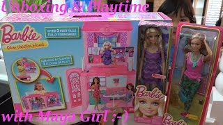 getlinkyoutube.com-Barbie Glam Vacation House Unboxing & Playtime + 2 New more Barbie Dolls