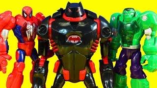 getlinkyoutube.com-Imaginext Robot Wars Ultimate Battle With Batman Batbot Mech Armor Spider-man Iron Man And Hulk