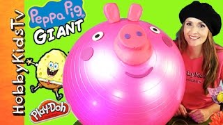 getlinkyoutube.com-Mega GIANT Play-Doh PEPPA PIG Surprise Egg Head! SPONGEBOB Chocolate Egg, MLP, Toys HobbyKidsTV
