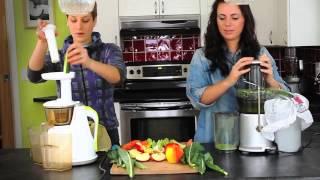 getlinkyoutube.com-Juicers - Hurom Slow Juicer vs. Breville Centrifugal Juicer - Juicing demo
