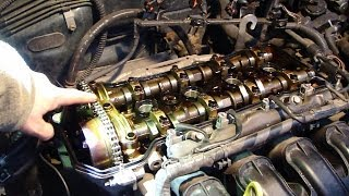 getlinkyoutube.com-How to check timing chain status VVT-i engine Toyota. Years 2000 to 2008.