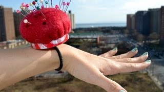 getlinkyoutube.com-✂ How to make a wrist band pin cushion using recycled materials - Natalie's Creations