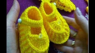getlinkyoutube.com-2ч.Пинетки Туфельки крючком для новорожденного.Booties crochet