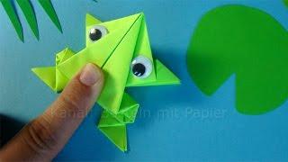 getlinkyoutube.com-Hüpfenden Origami Frosch falten - Springenden Frosch basteln mit Papier - Tiere basteln mit Kindern